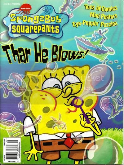 SpongeBob Magazine cover illustration shows SpongeBob SquarePants blowing bubbles in the shapes of Patrick and Squidward and Gary the snail