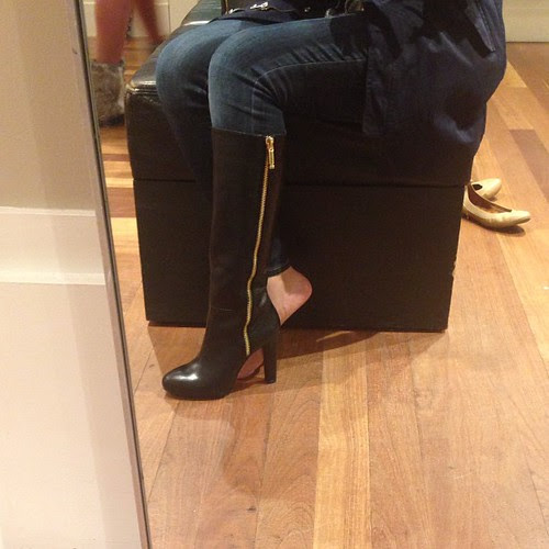 "Just ordered the Vitah boots at #BananaRepublic for 40% off. I tried on size 7 in store because it was conveniently the floor model but it was a little snug so I'm hoping size 7 1/2 will fit perfectly. :) Perfect for narrow calves (mine measure 13.5"" at t"