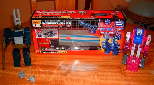 Transformers Optimus Prime G1 (Convoy Encore Reissue) + Onslaught G1 + Grotusque G1