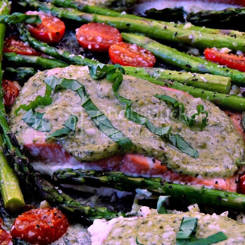 Sheet Pan Pesto Salmon with Asparagus and Tomatoes