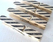 Black Striped CLOTHESPINS - party or wedding favor, gift clip, snack clip, banner clip - Rustic Elegance
