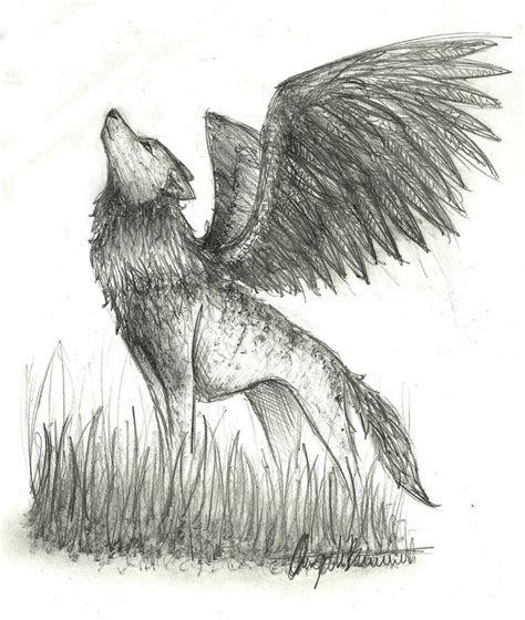 sketch winged wolf  wolfylittleartist  deviantart