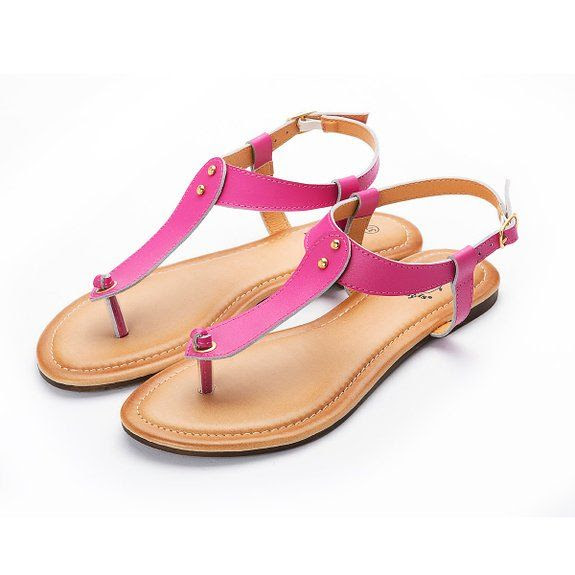 Alexis Leroy Summer Beach Leather Thong Adjustable Ankle Straps Flats Sandals: Shoes