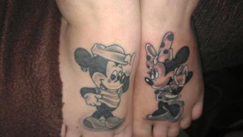 Grey Ink Mickey Mouse And Mice Feet Tattoos