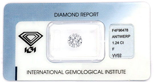 Originalfoto DIAMANT IGI 1,24 BRILLANT FEINES WEISS PLUS VVS DIAMOND