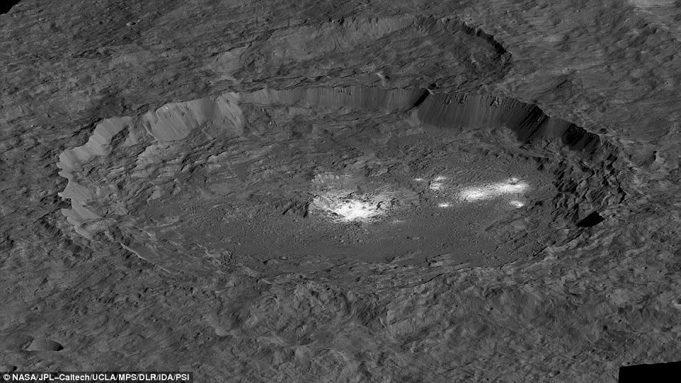 Mysterious bright spots dotting the surface of the dwarf planet Ceres have baffled scientists since they were first spotted two years ago. NASAÂ¿s Dawn spacecraft captured the first images of two distinctly reflective areas in 2015. A simulation of the bright areas of Occator Crater, Cerealia Facula in the center and Vinalia Faculae to the side, is pictured