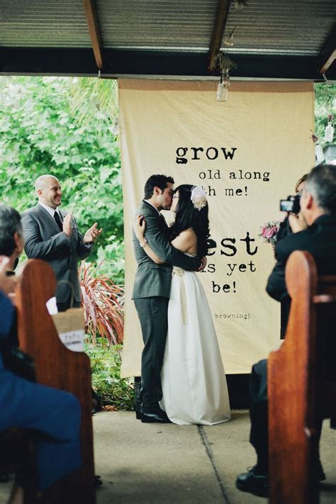 10 Ways to Use Quotes in Your Wedding   Ceremony backdrop