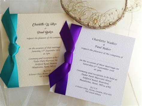 Square Wedding Invitations with Side Ribbon