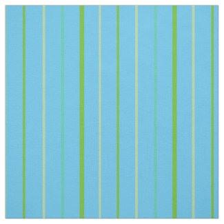 Custom Spring Green Stripes on Sky Blue Pattern Fabric