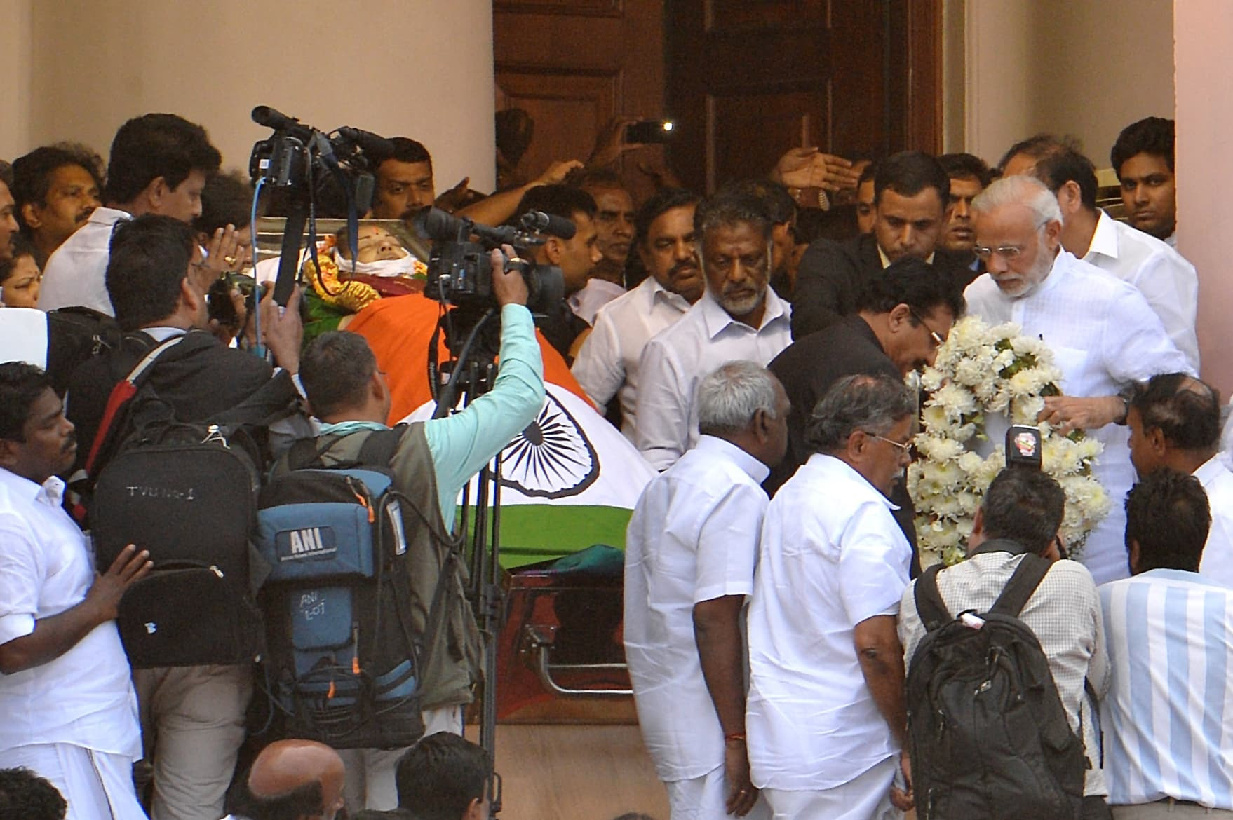 Prime Minister Narendra Modi offers a wreath to deceased Tamil Nadu chief minister J Jayalalithaa at Rajaji Hall in Chennai on Tuesday.