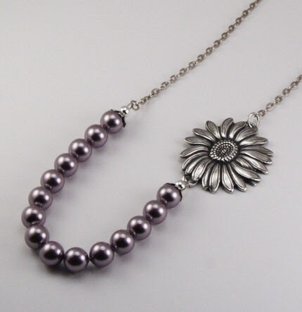 Vintage Style Sunflower Bloom Necklace - Mauve Pearls and Antique Silver