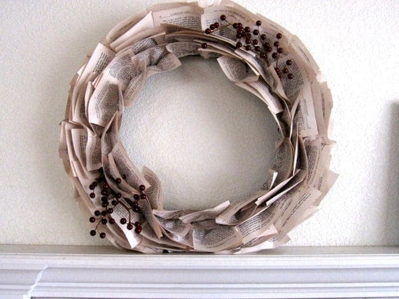 "22-Inch Christmas Wreath with Dickens' ""A Christmas Carol"" Book Paper and Double Berry Accent"