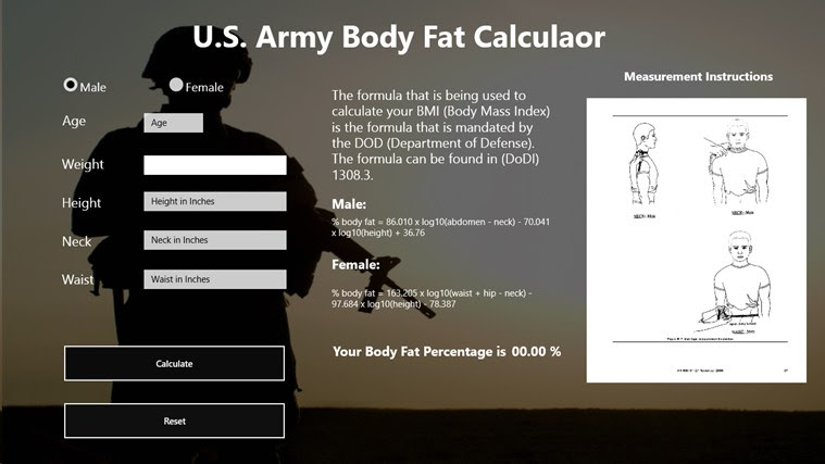 body fat percentage calculator measurements