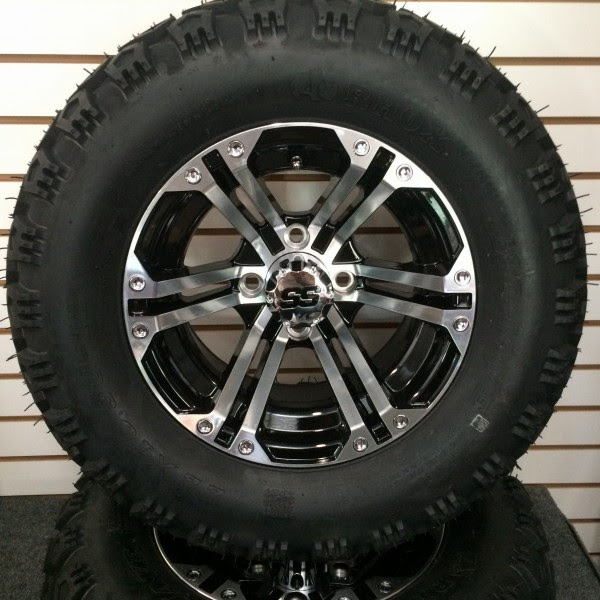 Golf Cart Wheels And Tires Package 12 E2 80 B3 Aluminum Wheel And 22 All Terrain Tires Battery Pete