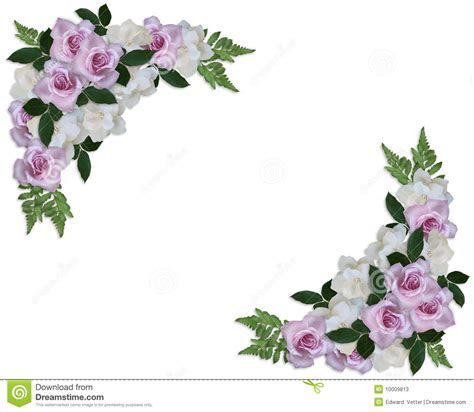 Wedding Invitation Roses Corner Design Stock Photos