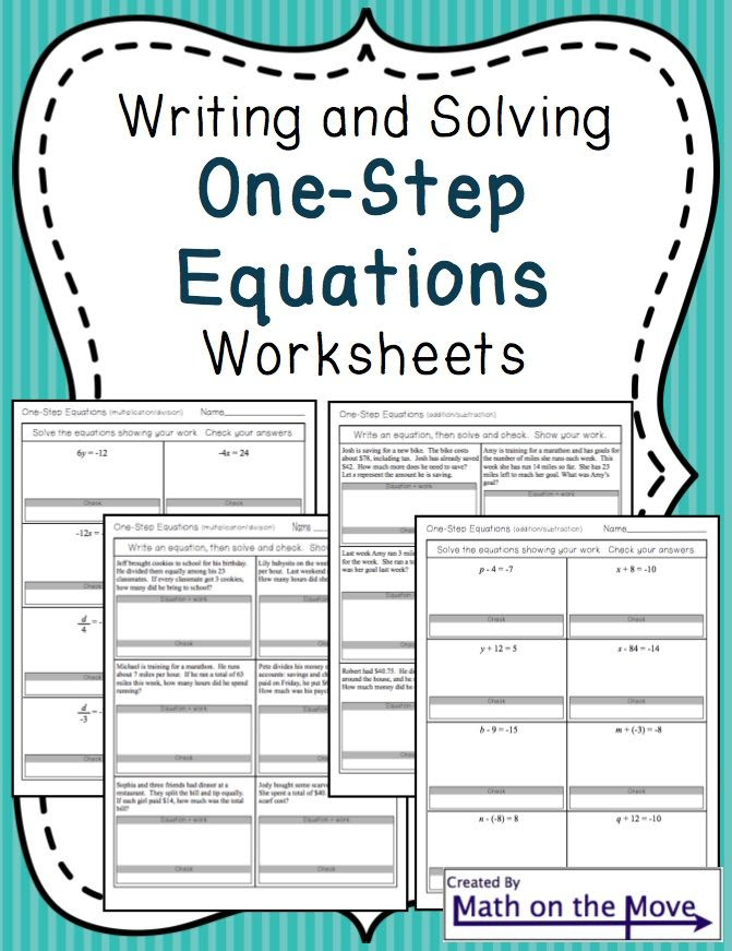Writing And Solving Linear Equations Worksheets