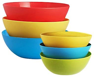 Kuber Industries Plastic Microwave Safe 6 Pieces Mixing Bowl Set- 1000, 1500 ML (Multi) - CTKTC034750
