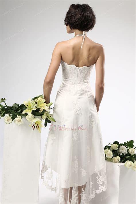 Unique Halter Top High Low Skirt Beach Bridal Dress