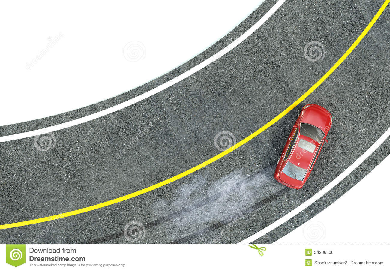 Red Car Enters The Turn With Skid Stock Illustration Image 54236306