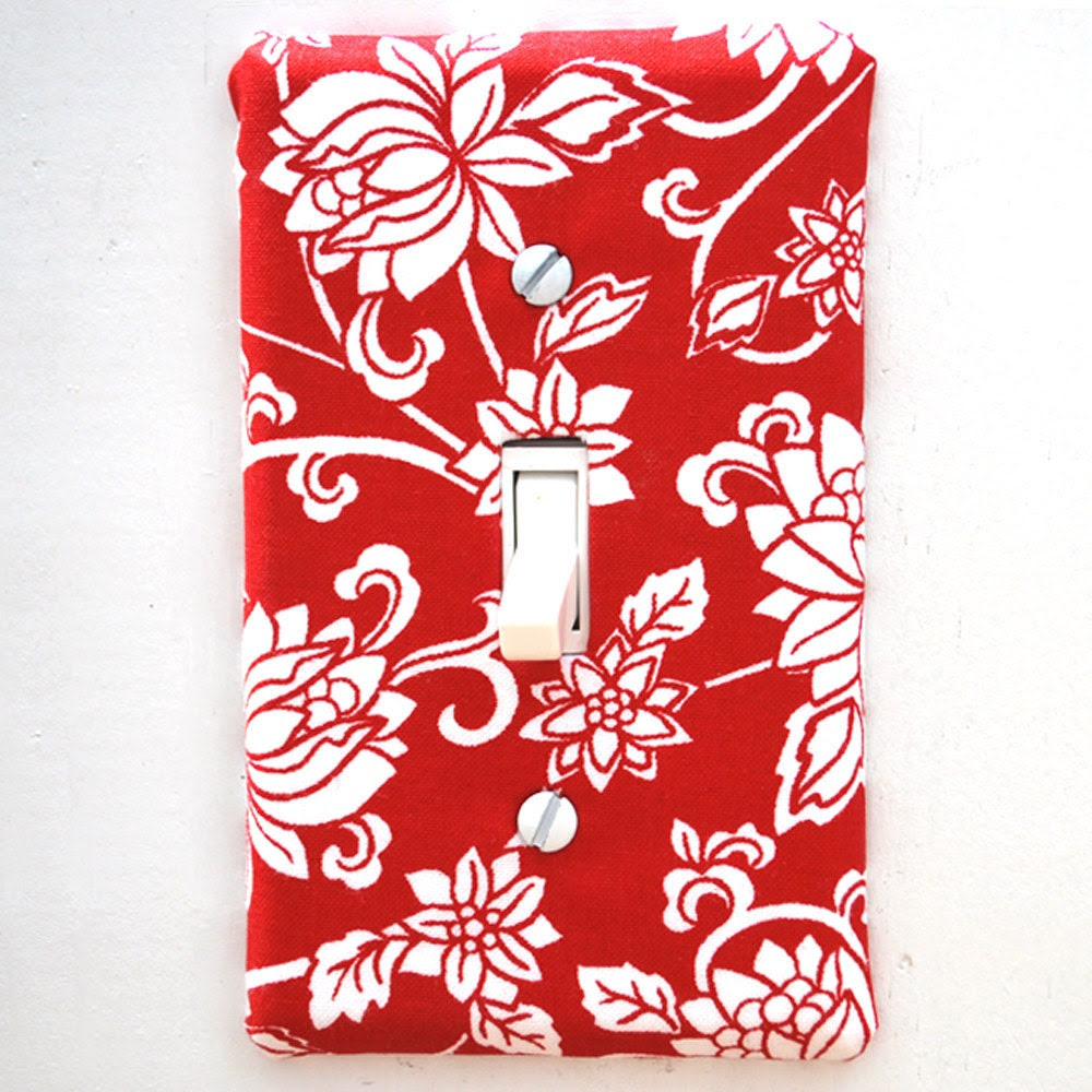 Light Switch Plate Cover - red with white floral, filagre, natural, flower, nature, fancy, formal