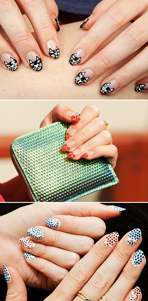 LE FASHION BLOG BEAUTY NAIL INSPIRATION RUNWAY INSPIRED NAIL ART DESIGN MANICURES BY ELIZABETH MONSON MOVE SLIGHTLY CHARLOTTE OLYMPIA KITTY NAILS COMME DES GARCON NAILS STELLA MCCARTNEY DOTS WAVES POLISHED LOOK TV HOW TO VIDEO