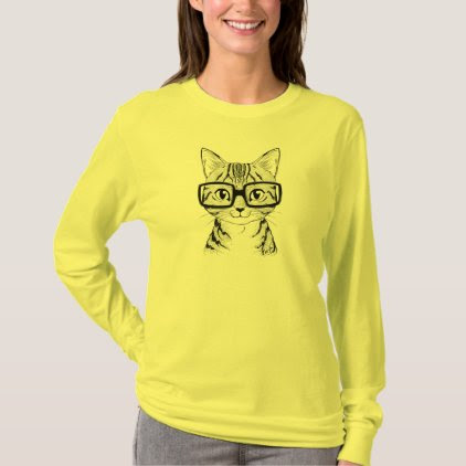 Unique Hand Drawn Nerdy Cat Art Women's Longsleeve T-Shirt