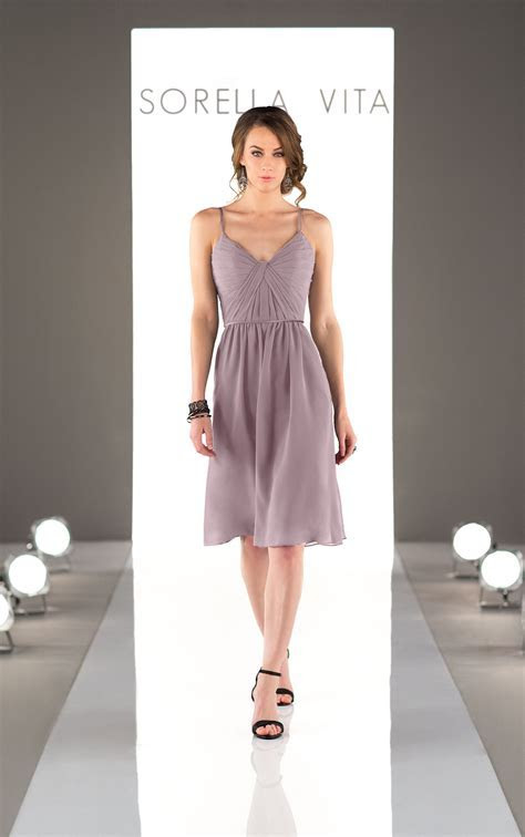 Chiffon Cocktail Length Bridesmaid Dress   Sorella Vita