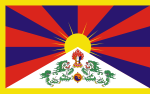 Left: Flag of Tibet in exile government. Right...
