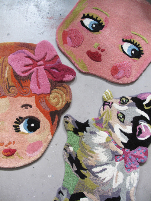 """new small rugs available by order """"Pretty"""",""""face doll"""" and """"Minette""""."""