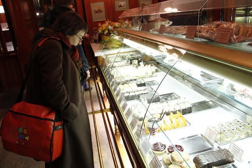 Choosing cakes in Kaffee Mayer