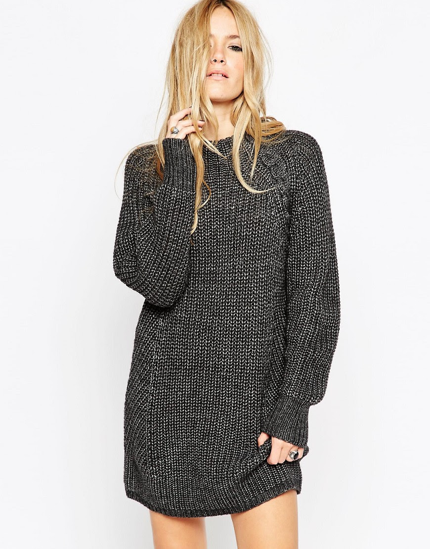 Image 1 of ASOS Chunky Jumper Dress with Cable Detail and Grown On Neck