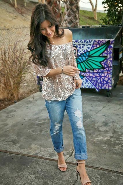 Glitter top and boyfriend jeans  .. only way to wear jeans