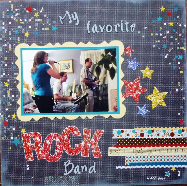 My family having fun with the video game Rock Band. Inspired by the Let's Scrap sketch 11-19-14. I'm also entering it in the Lasting Memories challenge LM#218 All about the Title !