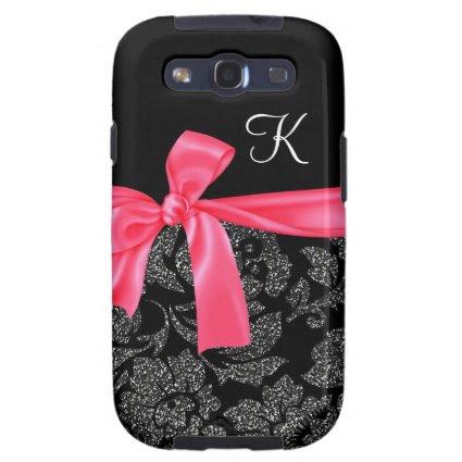 Elegant Glitter Black Damask Girly Hot Pink Bow Samsung Galaxy S3 Cover