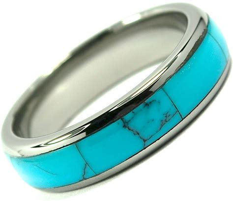 Tungsten Carbide Ring Wedding Band Turquoise Inlay