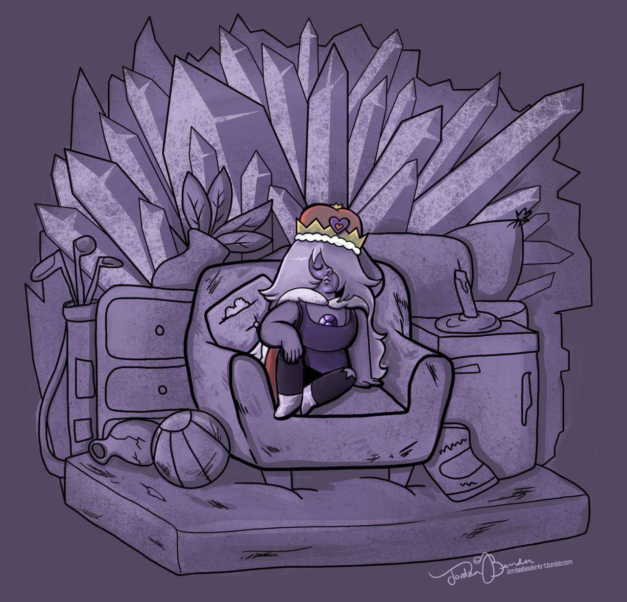 Tired of waiting for new episodes….so I drew Amethyst on her throne of junk.