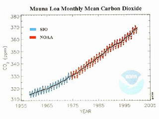 Fig. 5. Charts monthly mean world carbon dioxide measured at Mauna Loa, Hawaii, between the years 1960 and 2000 (Sherwood Rowland, U.C. Irvine)