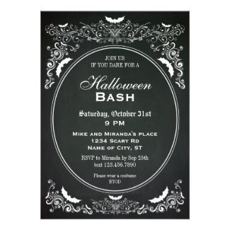 Elegant Chalkboard Halloween Invitation