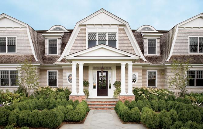Suzie: Architectural Digest - Alexa Hampton - Gorgeous home exterior with boxwoods.