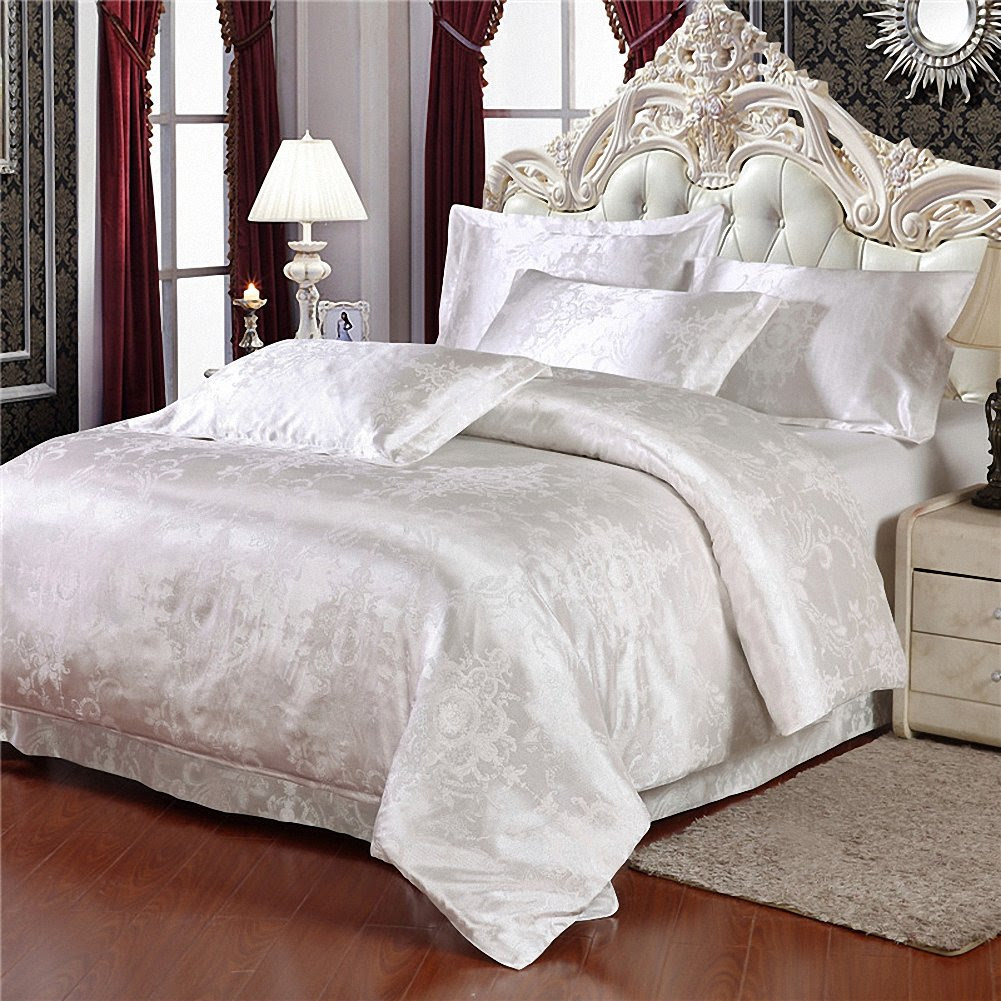 Hughapy® European Style Silk Floss Satin Jacquard Bedding Sets White Duvet Cover Sets , 4Pcs (Full)