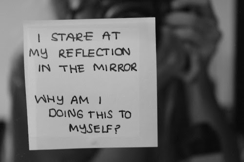 Truth Black And White Life Text Depressed Myself Quotes Fat Mirror
