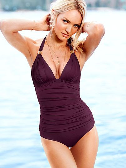Victoria's Secret Ruched Halter One-Piece Swimsuit