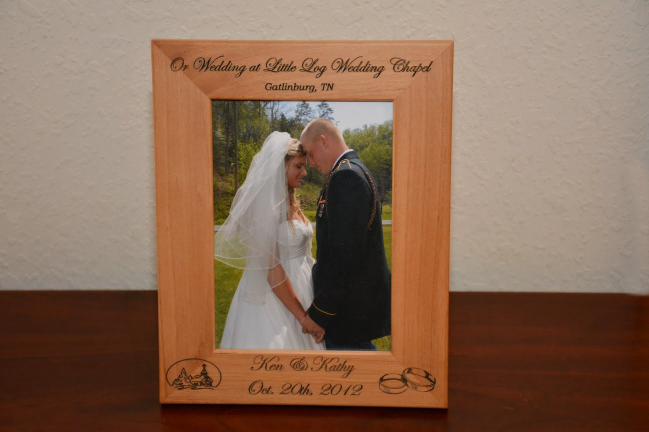 Custom Engraved Wood Frame Gatlinburgs Little Log Wedding Chapel