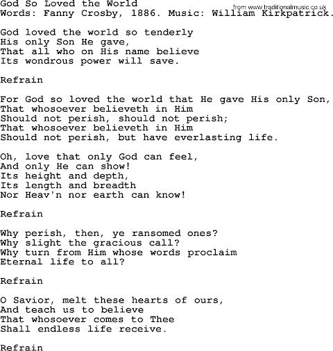 For God So Loved The World Lyrics