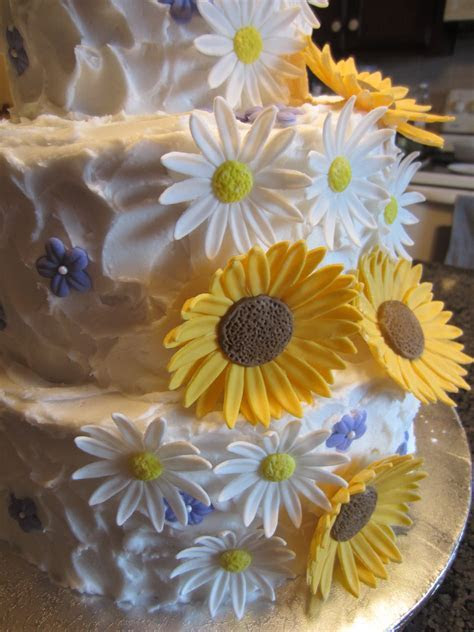Rustic Sunflowers, Daisies And Small Purple Blossoms
