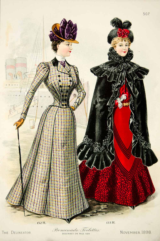 1898 lithograph victorian women promenade toilette costume