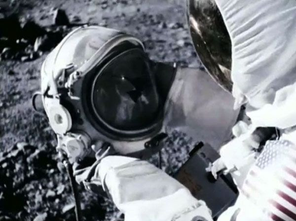 A U.S. astronaut finds a cosmonaut's helmet on the surface of the Moon in APOLLO 18.