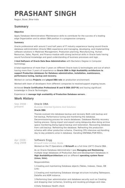 oracle dba resume sample for fresher  hq printable documents