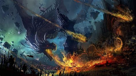 full hd wallpaper siege fortress dragon battle army