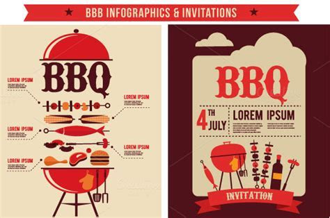 BBQ Infographics & Party Invitations ~ Illustrations on